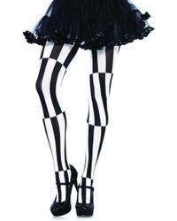 Leg Avenue Woven Opaque Striped Optical Illusion Pantyhose In Black/white