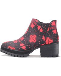 YRU Wolf Red Ankle Booties