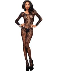 Leg Avenue Seamless Swirl Lace Long Sleeve Bodystocking In Black