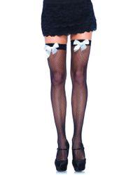 Leg Avenue - Fishnet Stocking W/bow O/s Black/white - Lyst