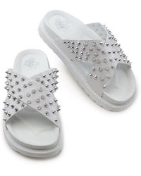 Liliana Airy-1 Spiked Upper Sandals - White