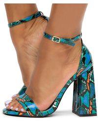 Liliana Liverpool-1 Chunky Heels - Blue