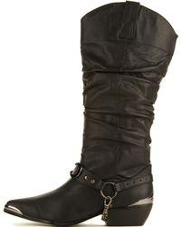 YRU Death Proof Black Cowboy Boots
