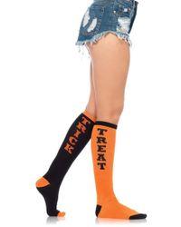 Leg Avenue - Trick Or Treat Acrylic Knee Socks O/s Black/orange - Lyst