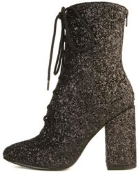 YRU Meteor Black Glitter Heeled Boots
