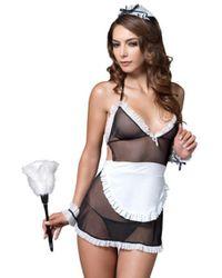 Leg Avenue 4pc.seductive French Maid, Apron Dress,g-string,wrist Cuffs,headband In Black/white - Multicolor