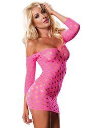 Leg Avenue Seamless Pothole Mini Dress With 3/4 Sleeve In Neon Pink