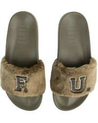 lowest price dcedb 88024 PUMA Fenty By Rihanna Leadcat Faux Fur Pool Slide in Blue - Lyst