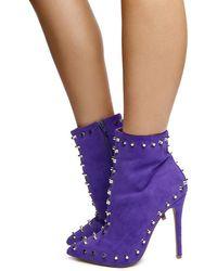Liliana Lexa-45 High Heel Boots - Purple