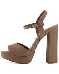5f4b7467633 Steve Madden - Kierra Camel Platform Heels - Lyst