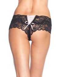 Leg Avenue Lace Tanga Shorts W/ Lace Up Back (6pc. Pack) In Black/pink