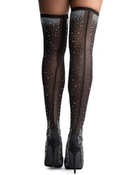 Liliana Venus Thigh High Stocking Heel - Black