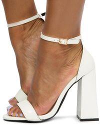 Liliana Liverpool-1 Chunky Heels - White