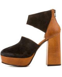 Free People Luxor Tan Combo Platform Heels - Brown