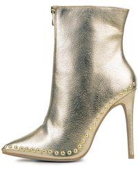 Legend Giselle Gold Heeled Booties - Metallic
