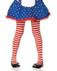Leg Avenue - Girl Stripe Tights In Red/white - Lyst