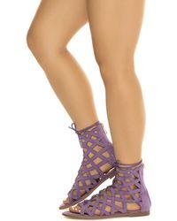 Cape Robbin Petrone-2 Lace-up Sandal - Purple