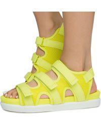 Bamboo Women's Kiki-26 3 Velcro Strap Sport Sandals - Yellow