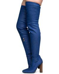 Cape Robbin Connie-10 Denim Heeled Thigh High Boots - Blue