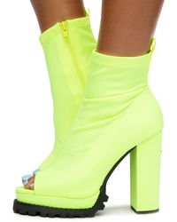 Liliana Monclair-21 High Heel Booties - Yellow