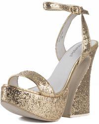 Jeffrey Campbell For Women: Kalika Gold Platform Wedges - Metallic