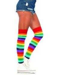 Leg Avenue Lycra Acrylic Rainbow Thigh High In Multicolor - Red