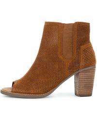 TOMS Majorca Peep Toe Cinnamon Suede Perforated Bootie - Brown