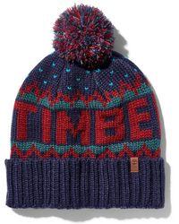 Timberland Bonnet D'hiver À Logo Tricoté - Rouge