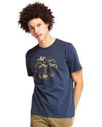 Timberland - T-shirt Con Logo Ad Albero Mimetico Kennebec River - Lyst