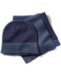 Timberland Coffret Cadeau Avec Bonnet Et Écharpe D'hiver - Bleu