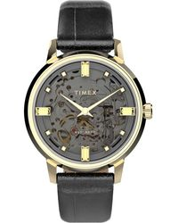 Timex Unveil Automatic 38mm Leather Strap Watch Gold-tone/black/gray - Metallic