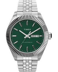 Timex Waterbury Legacy 41mm Stainless Steel Bracelet Watch Steel/green - Metallic