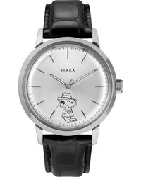 Timex - Marlin Automatic X Peanuts Featuring Snoopy Secret Agent 40mm Leather Strap Watch Stainless Steel/black/silver-tone - Lyst
