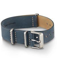 Timex Watch Unisex 20mm Leather Slip-thru Double Layer Strap Blue