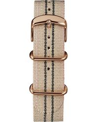 Timex Watch 20mm Metallic Stripe Woven Fabric Slip-thru Strap Pink - Multicolour