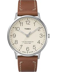 Timex Waterbury Classic 40mm Leather Strap Watch Stainless Steel/brown/cream - Metallic