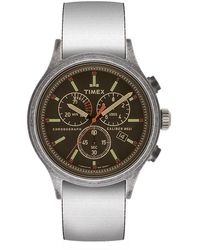 Timex Allied Chronograph 42mm Reversible Fabric Strap Watch Black - Multicolour