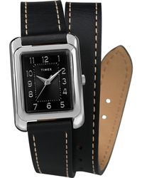 Timex Watch Addison 25mm Double Wrap Leather Strap Silver-tone/black