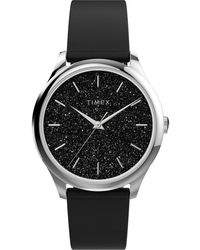 Timex Celestial Opulence 32mm Textured Fabric Strap Watch Silver-tone/black