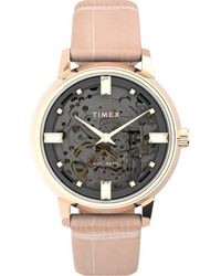 Timex Unveil Automatic 38mm Leather Strap Watch Rose Gold-tone/pink/gray