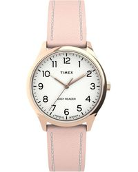 Timex Watch Easy Reader Gen1 32mm Leather Strap Rose Gold-tone/pink/white