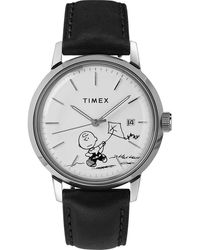 Timex Watch Marlin Automatic X Peanuts Featuring Charlie Brown 40mm Leather Strap Stainless Steel/black/white - Multicolour