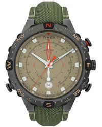 Timex Watch Allied Tide-temp-compass With Intelligent Quartz Technology 45mm Fabric Strap Gunmetal/tan - Green