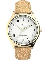 Timex Easy Reader Gen1 32mm Leather Strap Watch Gold-tone/tan/white - Metallic