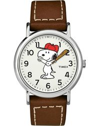 Timex X Peanuts - Snoopy 38mm Brown Leather Strap