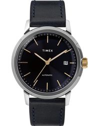 Timex - Watch Marlin Automatic 40mm Leather Strap Stainless Steel/blue - Lyst