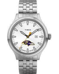 Timex - Watch Top Brass Baltimore Ravens Stainless Steel/white - Lyst