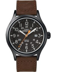 Timex Expedition Scout 40mm Leather Strap Watch Black/brown/black