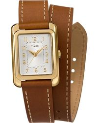 Timex Watch Addison 25mm Double Wrap Leather Strap Gold-tone/brown/silver-tone - Metallic