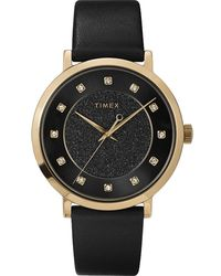 Timex Celestial Opulence 38mm Leather Strap Watch Gold-tone/black - Multicolour